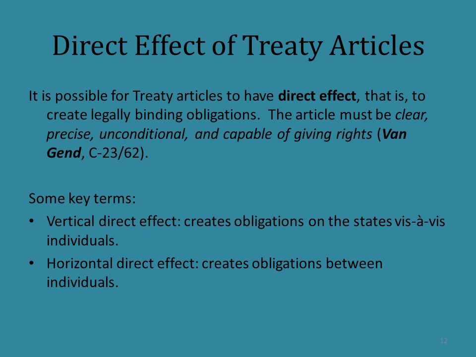 Direct Effect of Treaty Articles