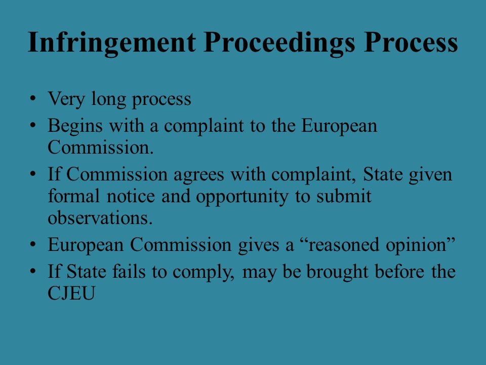 Infringement Proceedings Process