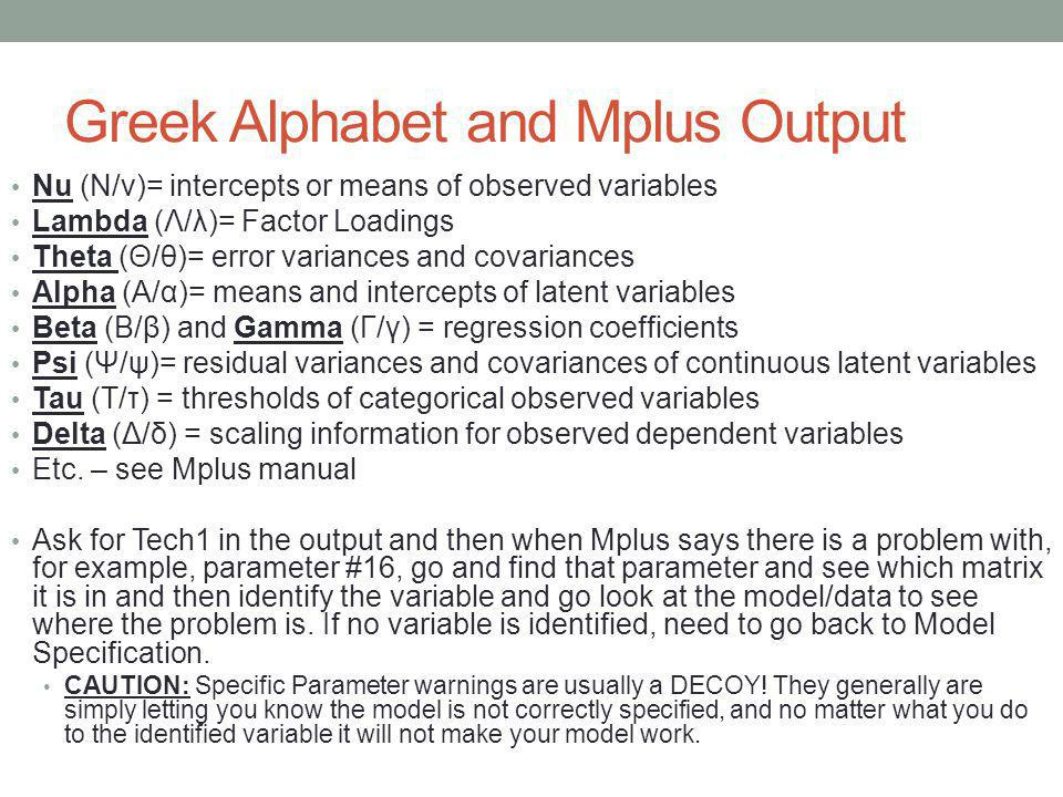 Greek Alphabet and Mplus Output