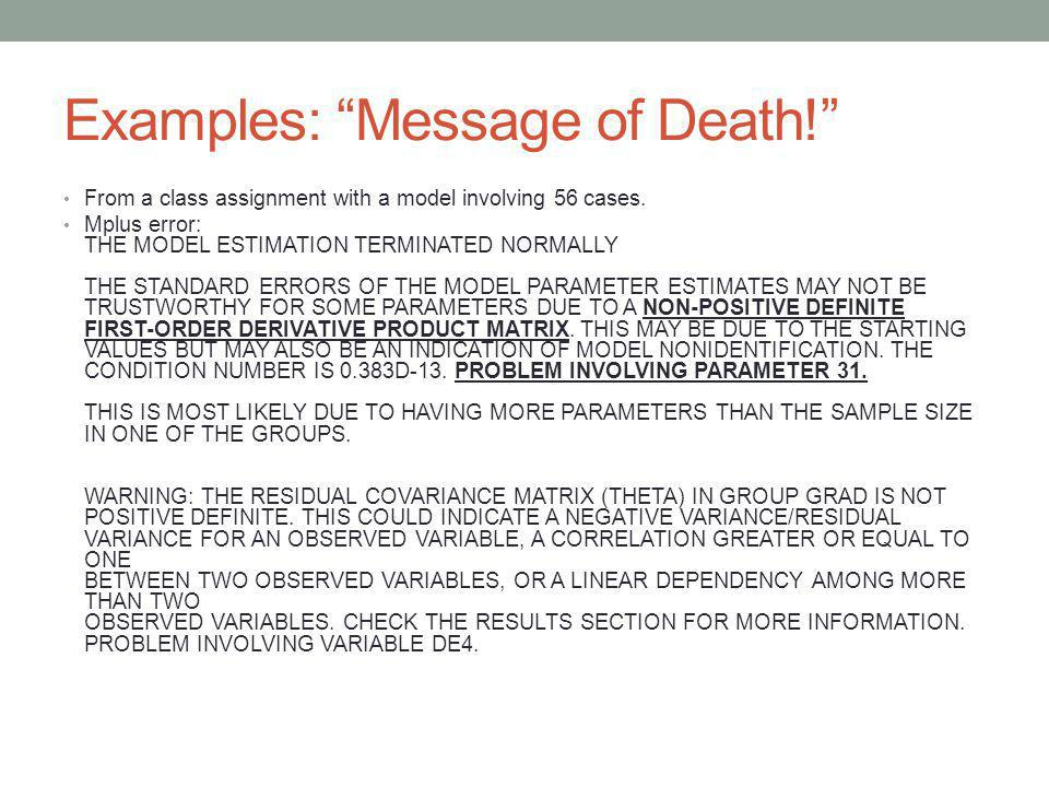 Examples: Message of Death!