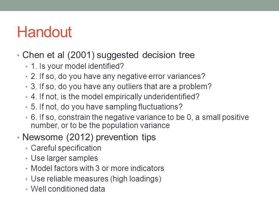 Handout Chen et al (2001) suggested decision tree