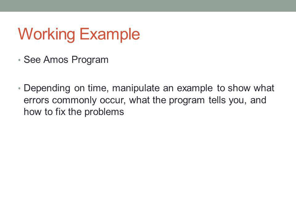 Working Example See Amos Program