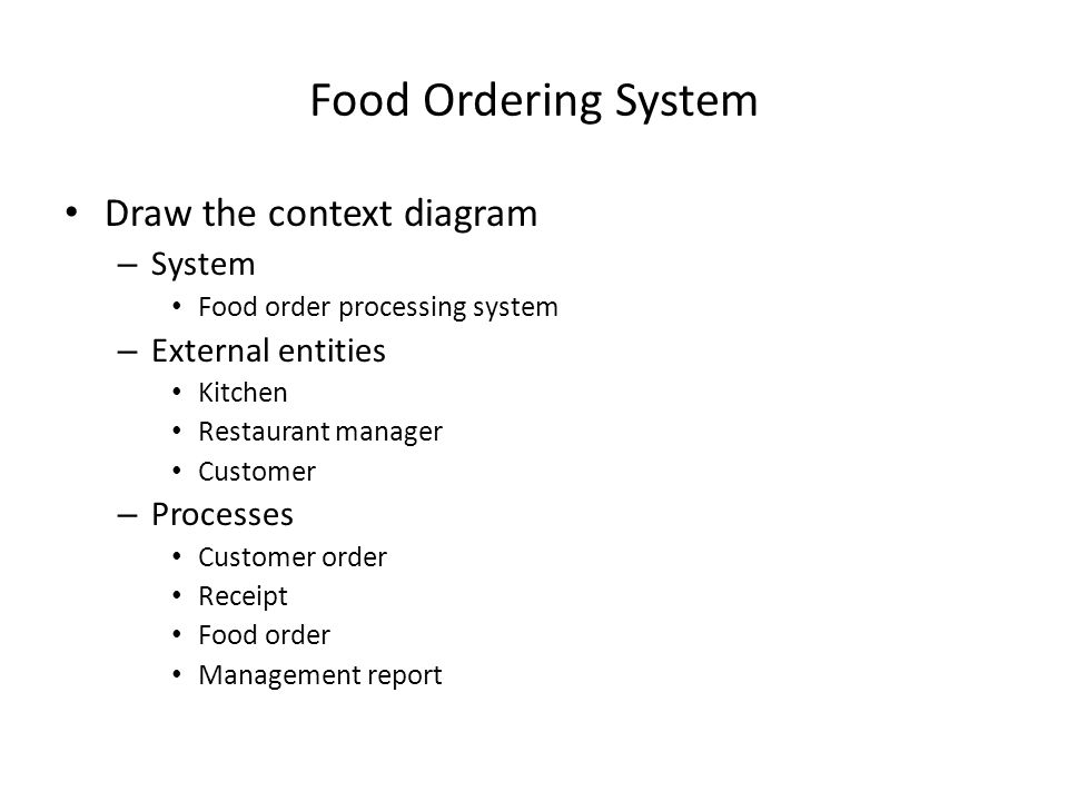 Food Ordering System Draw the context diagram System External entities