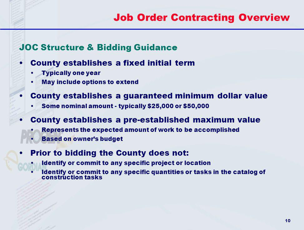 Job Order Contracting Overview