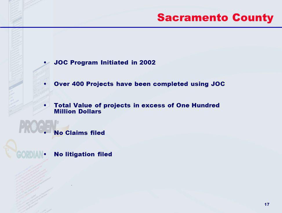 Sacramento County JOC Program Initiated in 2002