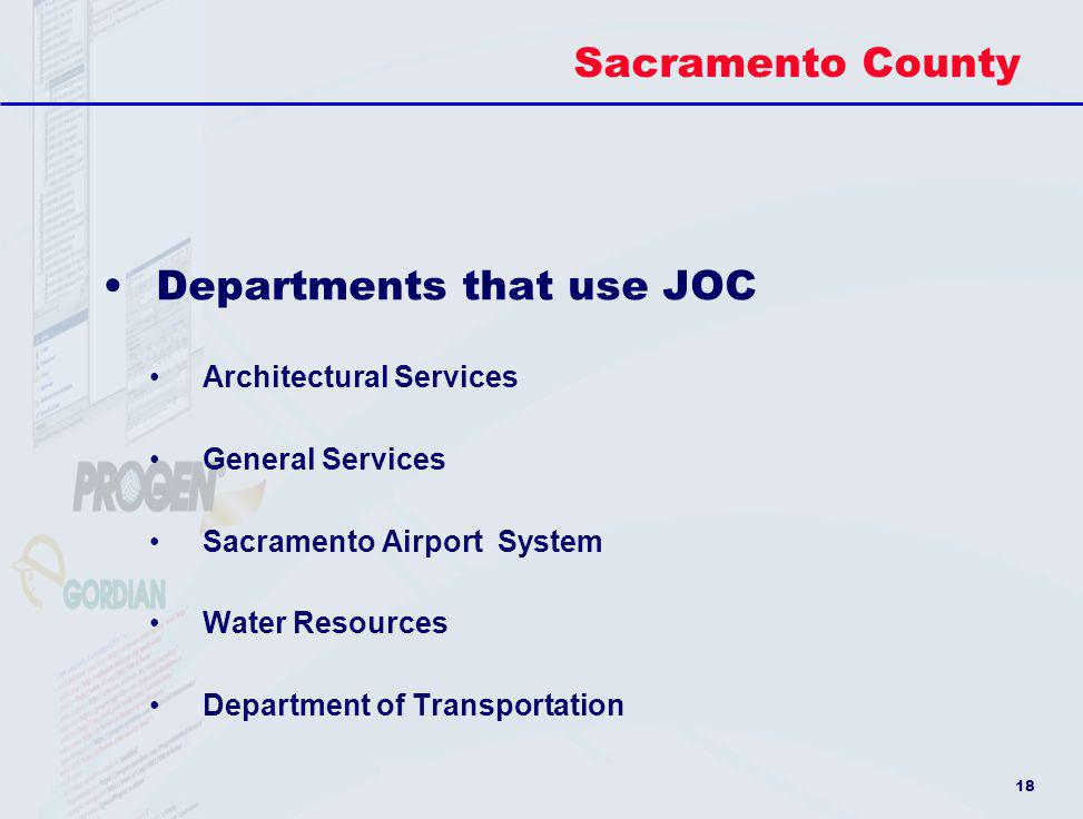 Departments that use JOC
