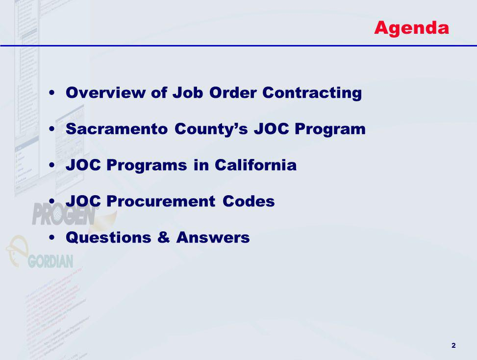 Agenda Overview of Job Order Contracting