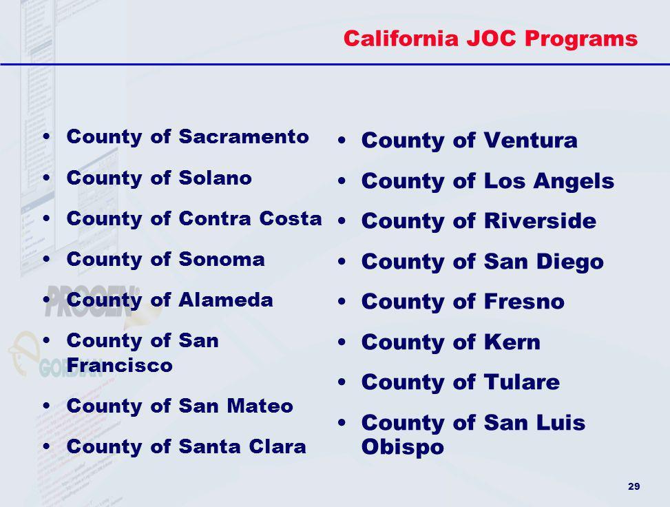 California JOC Programs
