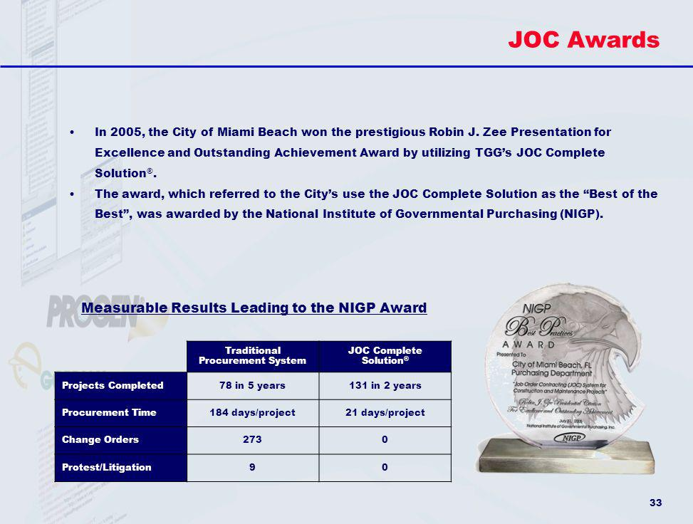 JOC Awards Measurable Results Leading to the NIGP Award