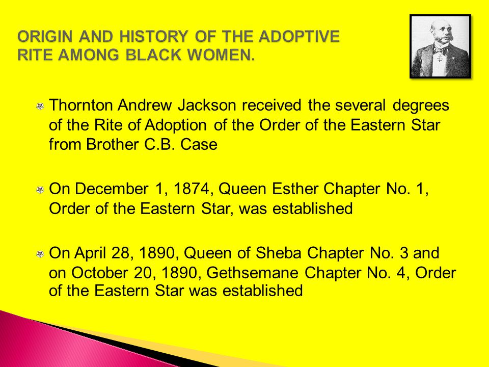 ORIGIN AND HISTORY OF THE ADOPTIVE RITE AMONG BLACK WOMEN.