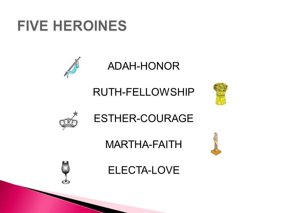 ADAH-HONOR RUTH-FELLOWSHIP ESTHER-COURAGE MARTHA-FAITH ELECTA-LOVE