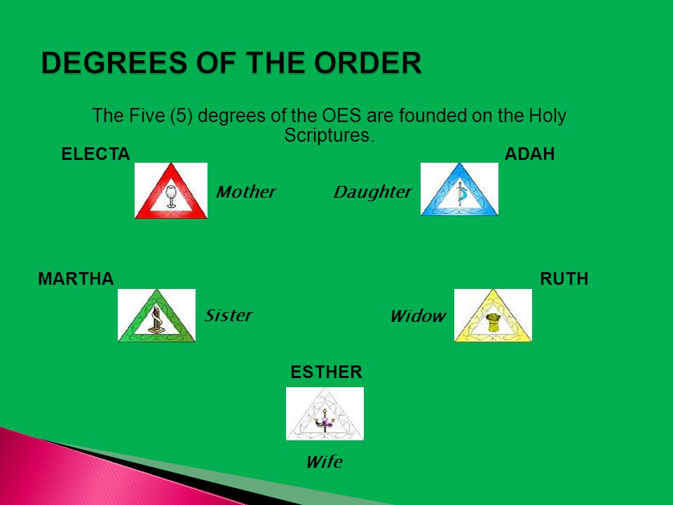 The Five (5) degrees of the OES are founded on the Holy