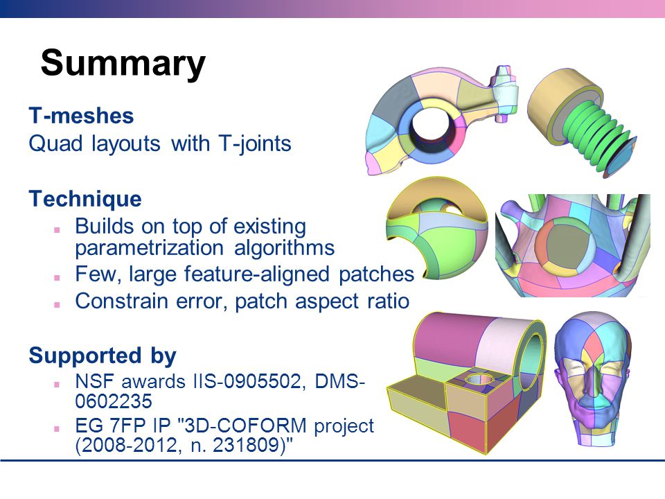 Summary T-meshes Quad layouts with T-joints Technique Supported by