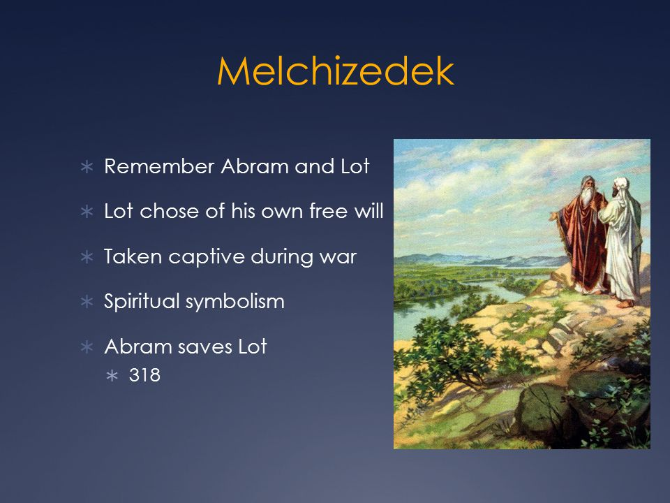 Melchizedek Remember Abram and Lot Lot chose of his own free will