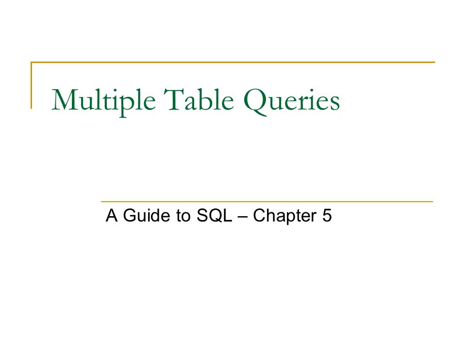 Multiple Table Queries