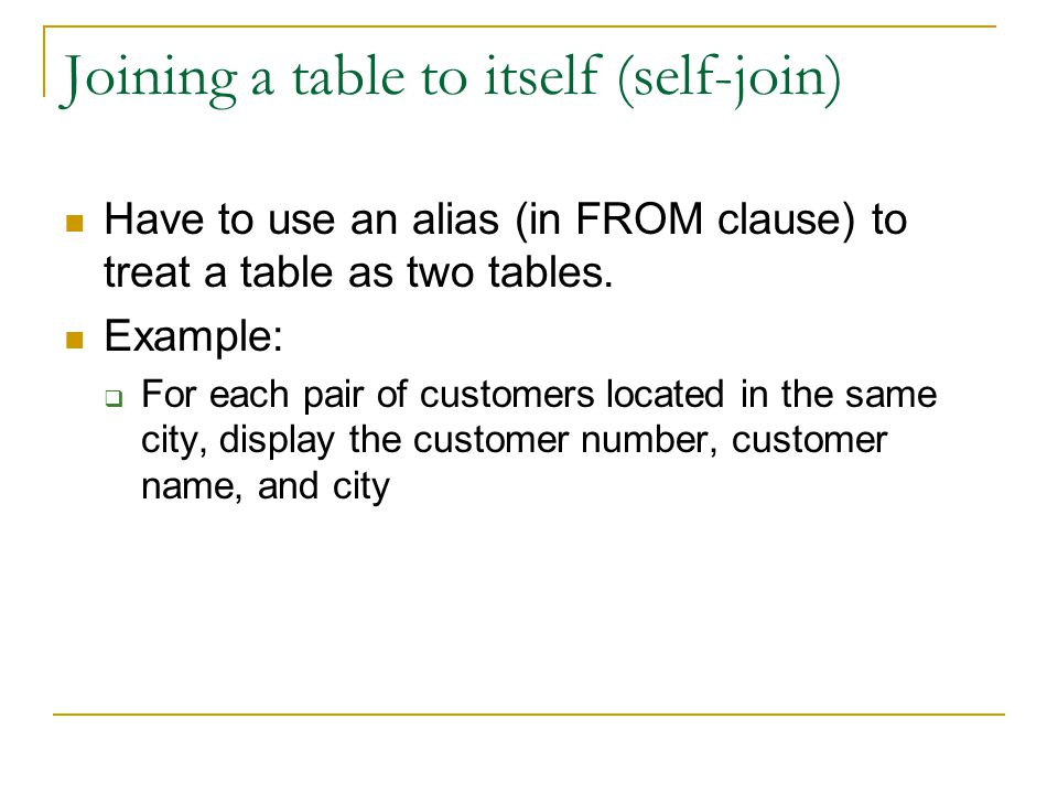 Joining a table to itself (self-join)