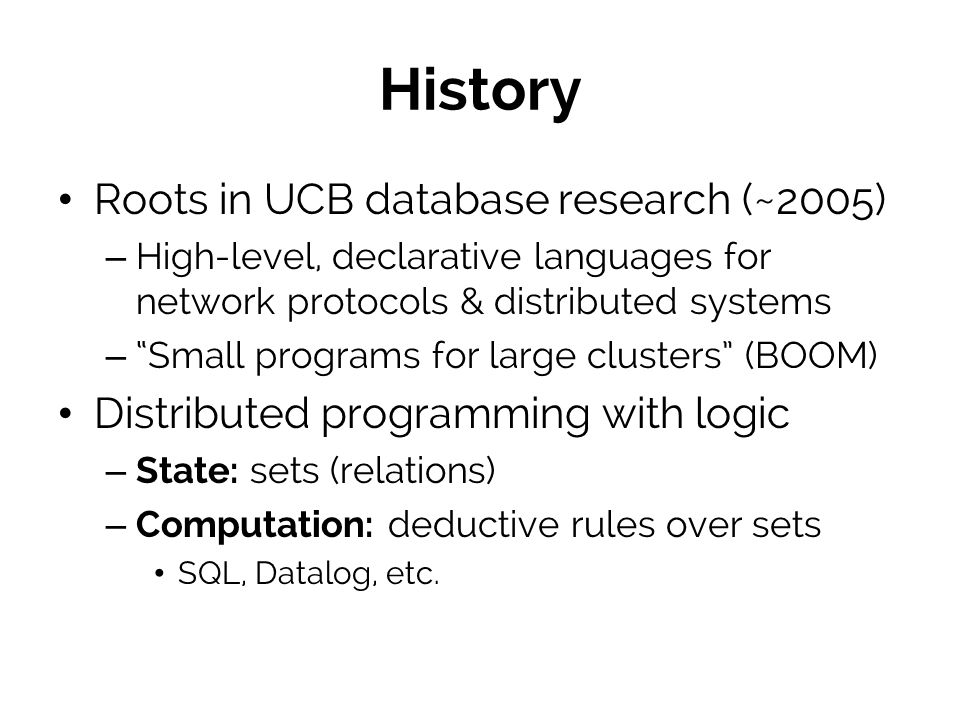 History Roots in UCB database research (~2005)