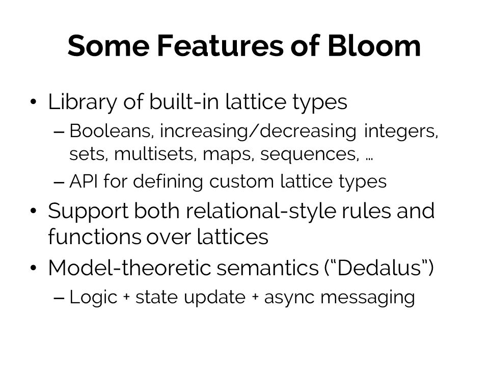 Some Features of Bloom Library of built-in lattice types