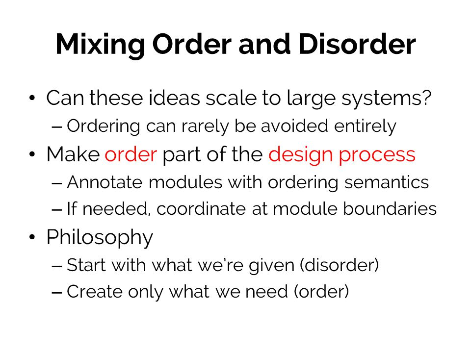 Mixing Order and Disorder