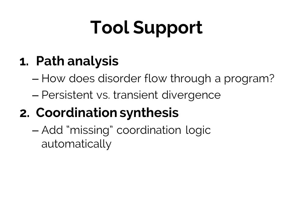Tool Support Path analysis Coordination synthesis