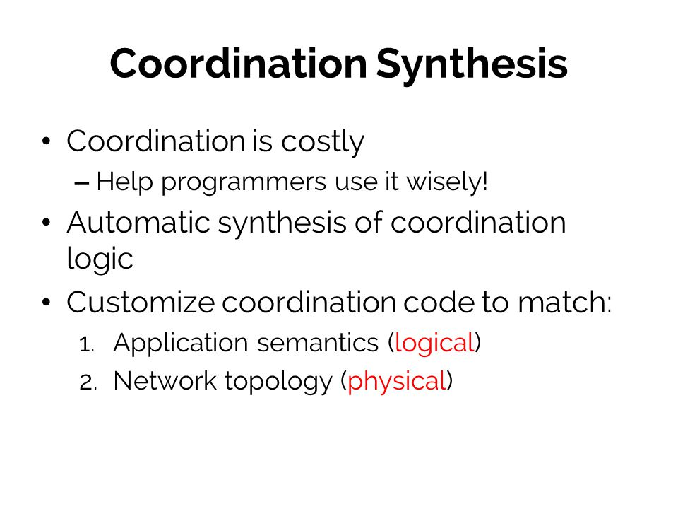 Coordination Synthesis
