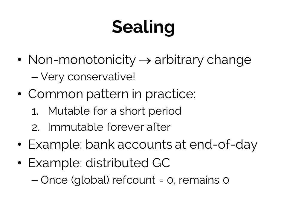 Sealing Non-monotonicity  arbitrary change