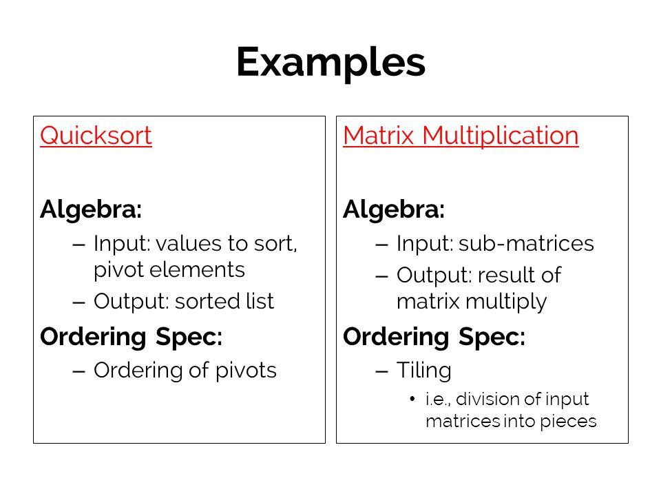 Examples Quicksort Algebra: Ordering Spec: Matrix Multiplication