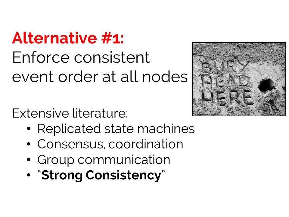 Enforce consistent event order at all nodes