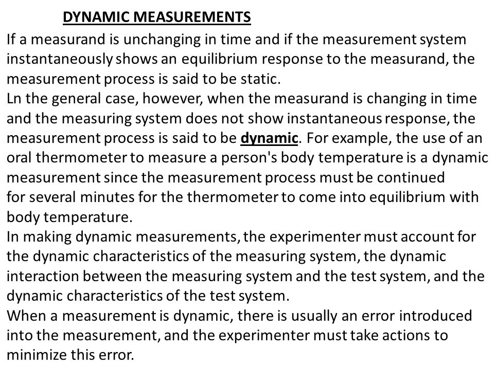 DYNAMIC MEASUREMENTS