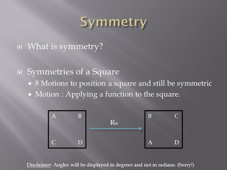 Symmetry What is symmetry Symmetries of a Square