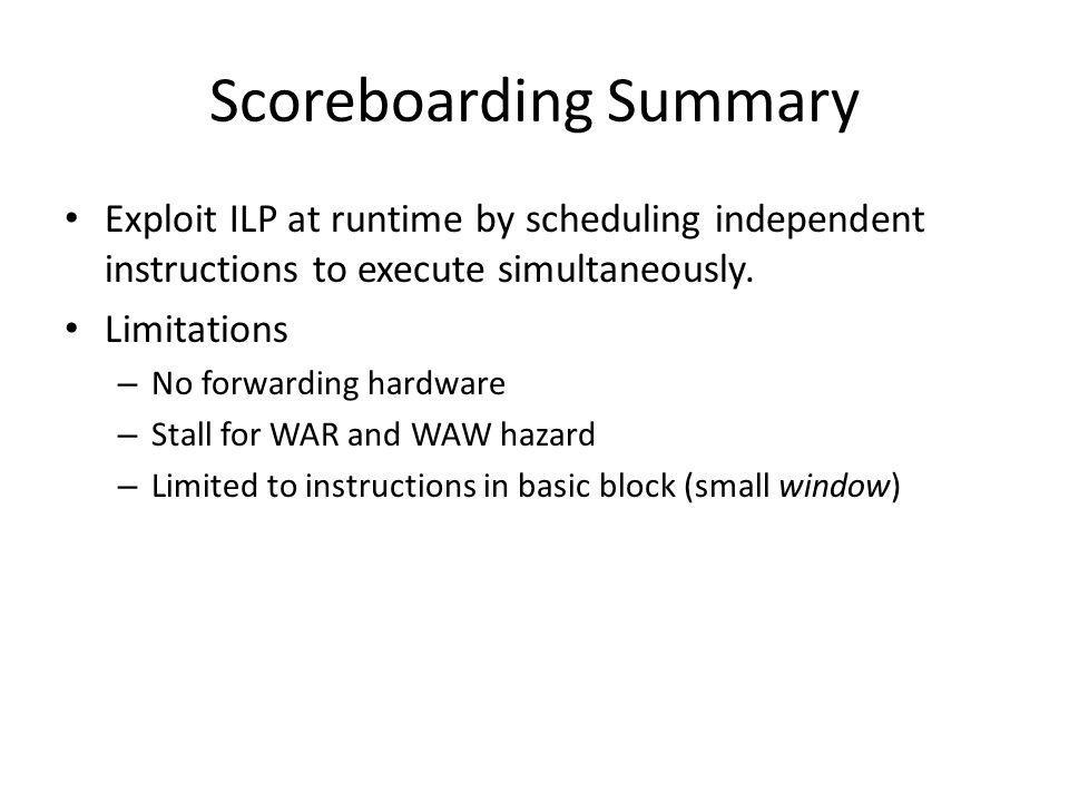 Scoreboarding Summary