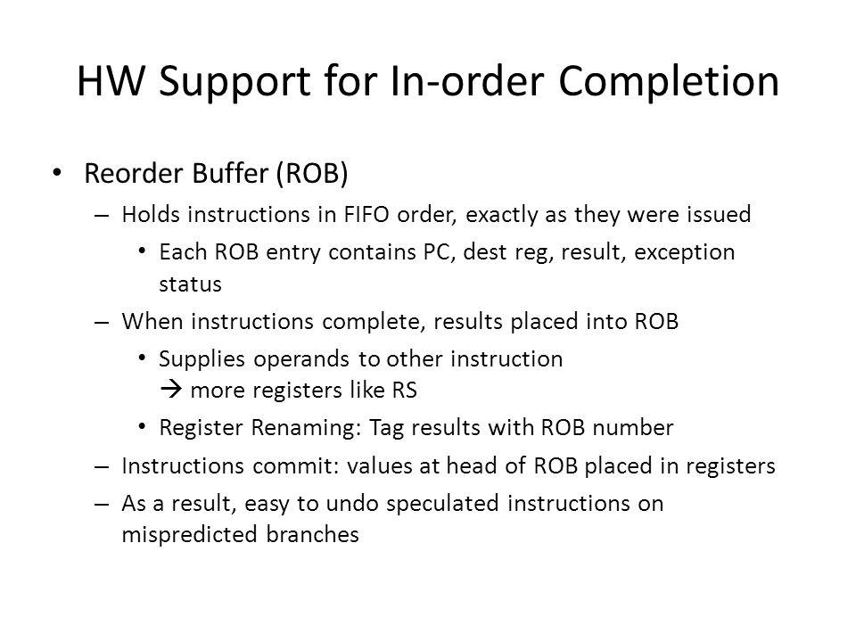 HW Support for In-order Completion