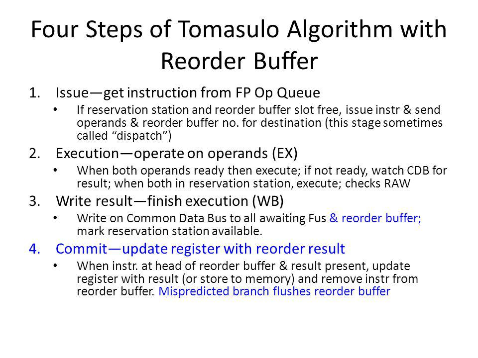 Four Steps of Tomasulo Algorithm with Reorder Buffer