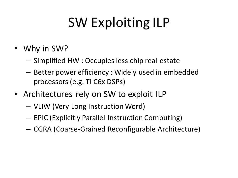 SW Exploiting ILP Why in SW Architectures rely on SW to exploit ILP