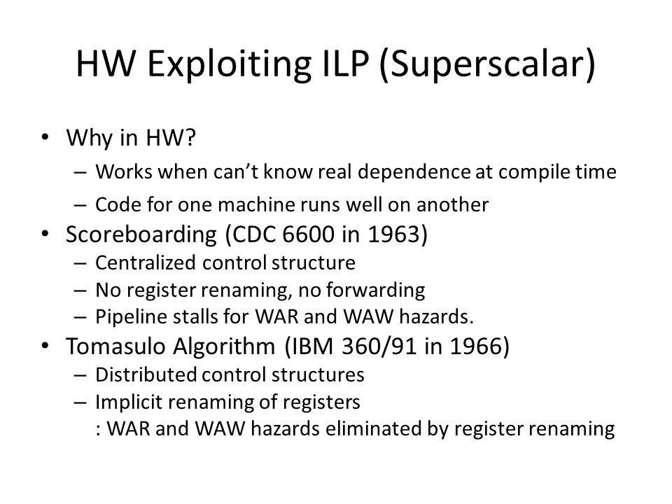 HW Exploiting ILP (Superscalar)