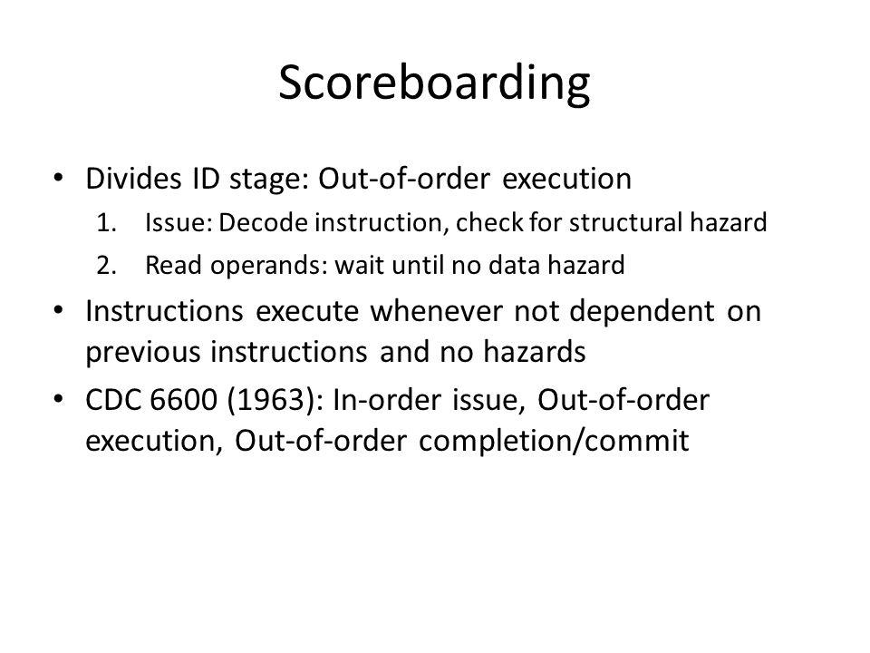 Scoreboarding Divides ID stage: Out-of-order execution