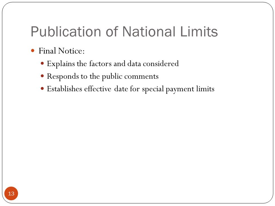 Publication of National Limits