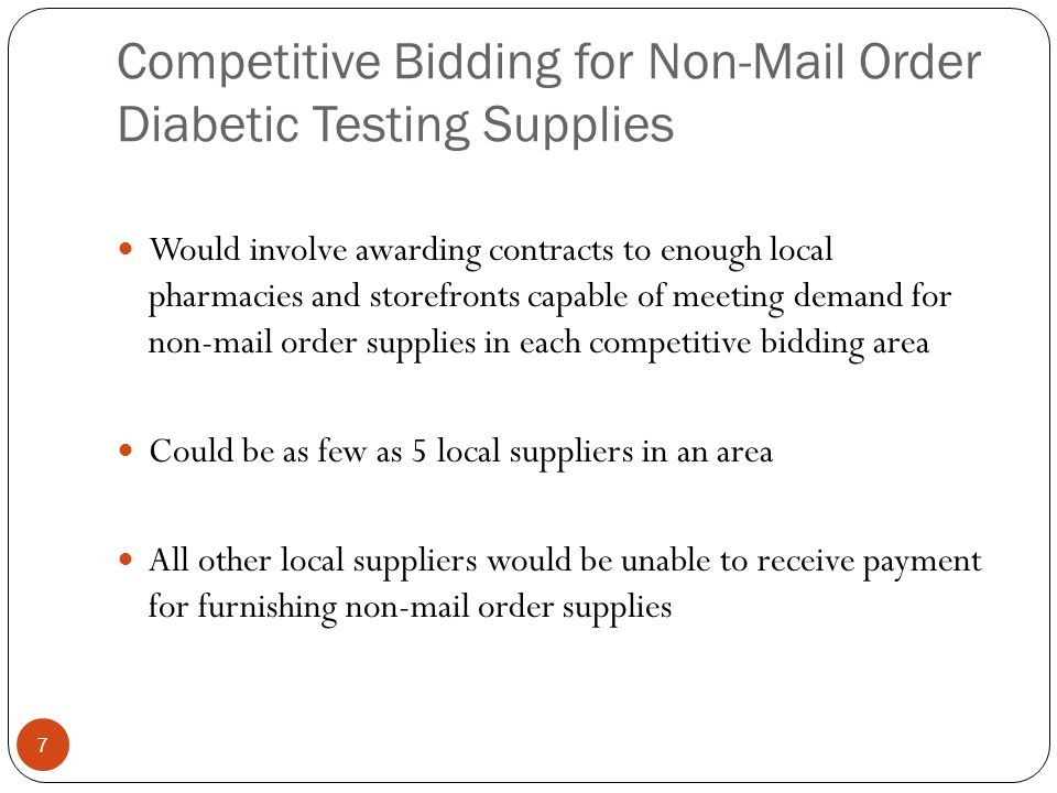 Competitive Bidding for Non-Mail Order Diabetic Testing Supplies
