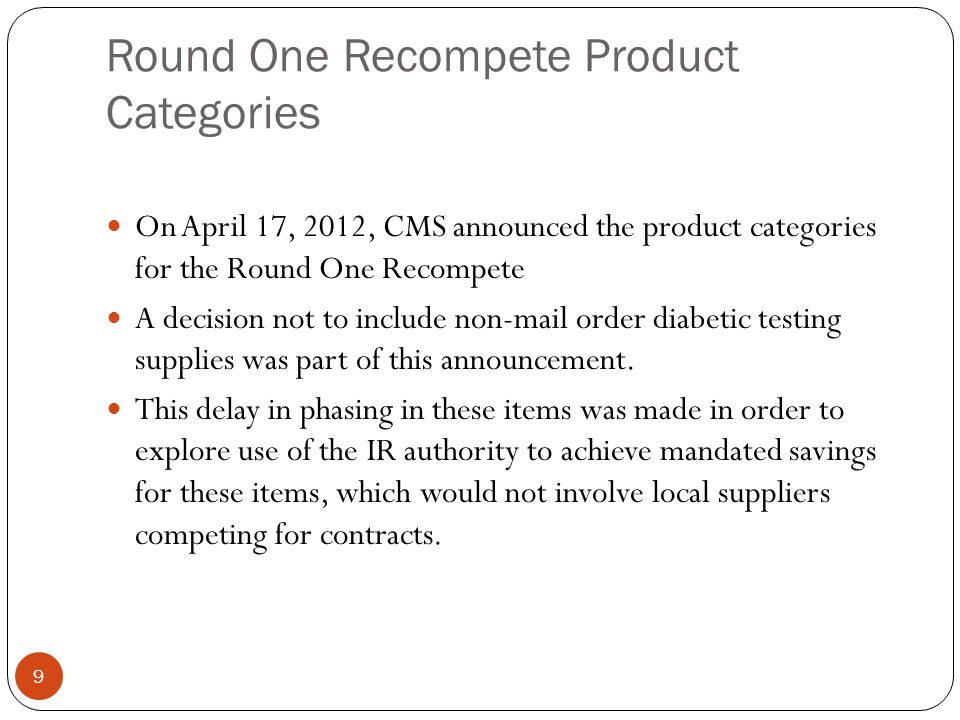Round One Recompete Product Categories