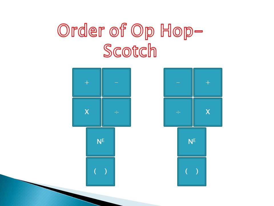 Order of Op Hop- Scotch ( ) NE X ÷ + - ( ) NE ÷ X - +