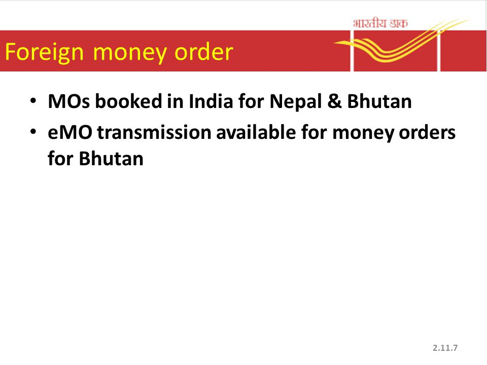Foreign money order MOs booked in India for Nepal & Bhutan