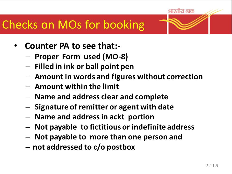 Checks on MOs for booking