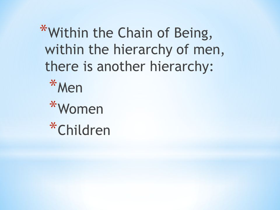 Within the Chain of Being, within the hierarchy of men, there is another hierarchy: