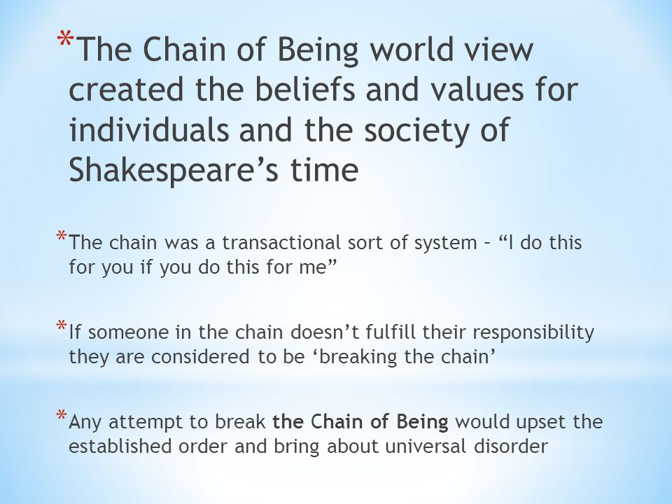 The Chain of Being world view created the beliefs and values for individuals and the society of Shakespeare's time