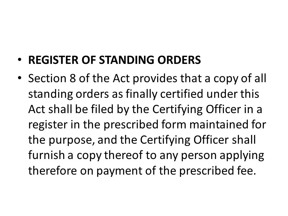 REGISTER OF STANDING ORDERS