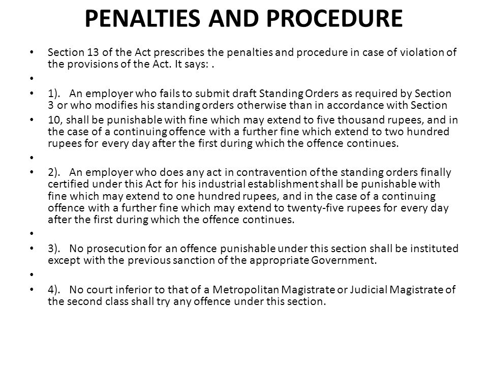 PENALTIES AND PROCEDURE
