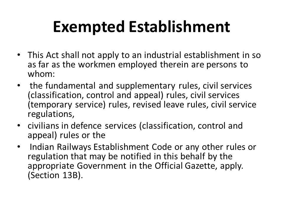 Exempted Establishment