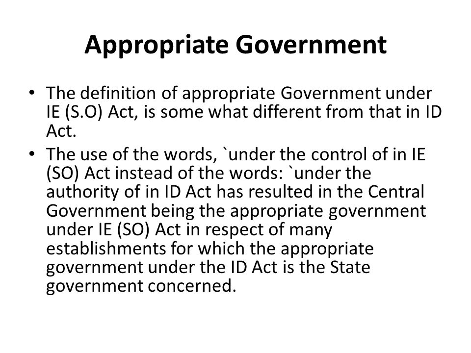 Appropriate Government