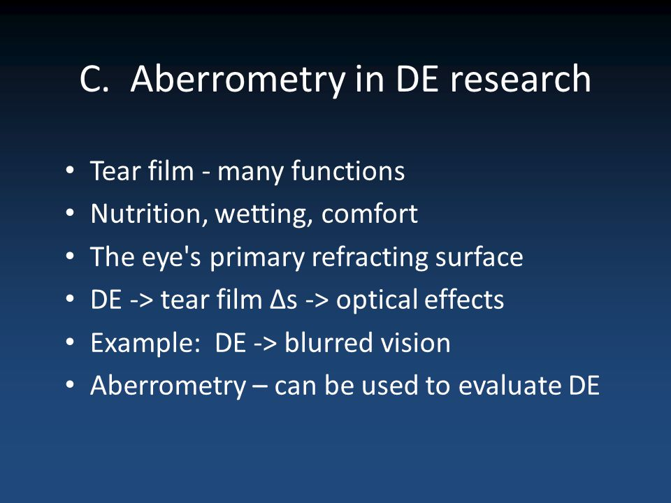 C. Aberrometry in DE research