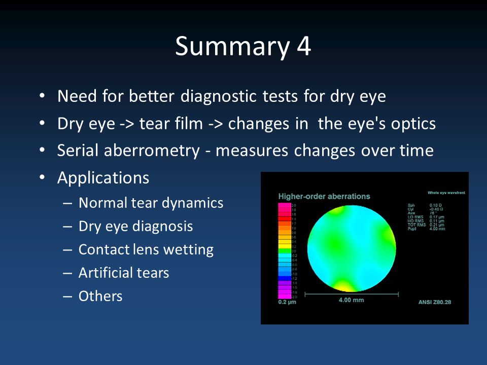 Summary 4 Need for better diagnostic tests for dry eye